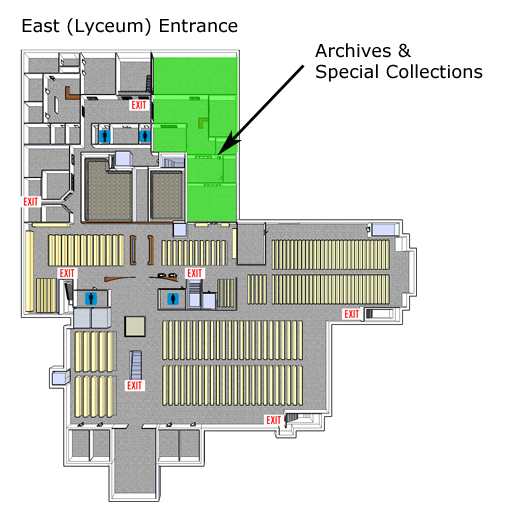 map of library showing location of the archives