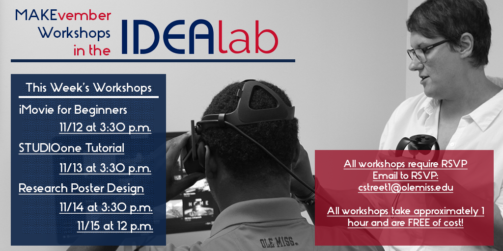 IDEAlab Workshop Schedule